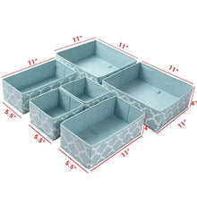 Load image into Gallery viewer, Budget homyfort set of 6 foldable dresser drawer dividers cloth storage boxes closet organizers for underwear bras socks ties scarves blue lantern printing