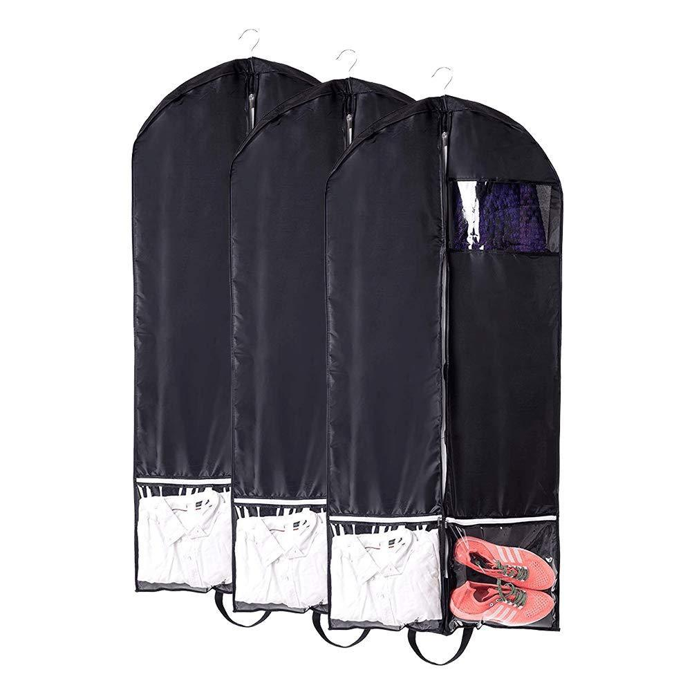 Great qees 3pcs travel garment bag heavy duty breathable dance costume bags with accessories zipper pockets travel and closet suit storage bags with strong handle jjz310