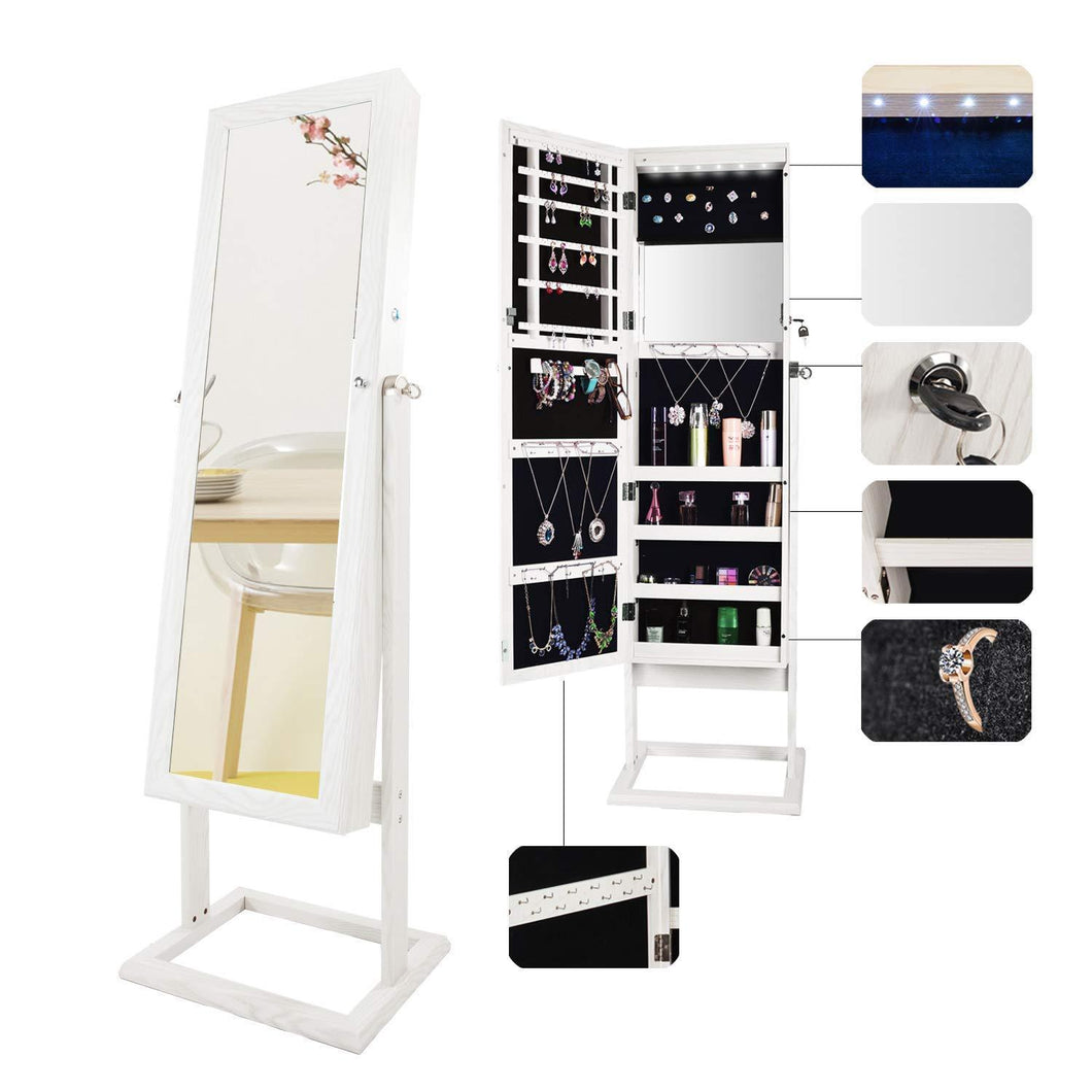 Exclusive bonnlo cheval jewelry armoire stable square freestanding with 6 leds with 4 adjustable angle tilting lockable heavy duty bedroom makeup mirror cabinet organizer closet xmas new year gift