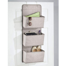 Load image into Gallery viewer, Storage mdesign a568 soft fabric over the door hanging storage organizer with 3 large pockets for closets in bedrooms hallway entryway mudroom hooks included textured print 2 pack linen tan