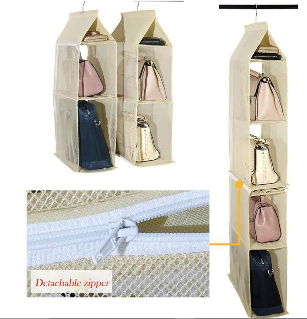 Exclusive ixaer detachable hanging handbag organizer purse bag collection storage holder wardrobe closet hatstand 4 compartment beige