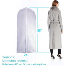 Load image into Gallery viewer, Heavy duty garment bag clear plastic breathable moth proof garment bags cover for long winter coats wedding dress suit dance clothes closet pack of 6 24 x 55