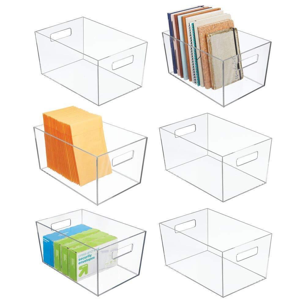 mDesign Plastic Storage Bin with Handles for Office, Desk, Book Shelf, Filing Cabinet - Organizer for Sticky Notes, Pens, Notepads, Pencils, Supplies - 12