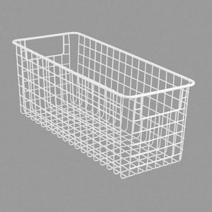 Explore mdesign farmhouse decor metal wire food storage organizer bin basket with handles for kitchen cabinets pantry bathroom laundry room closets garage 16 x 6 x 6 4 pack matte white