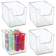 Load image into Gallery viewer, Order now mdesign plastic open front bathroom storage organizer basket bin for cabinets shelves countertops bedroom kitchen laundry room closet garage 8 wide 4 pack clear