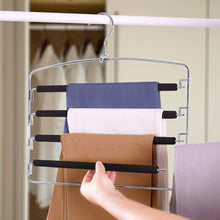 Load image into Gallery viewer, New homeideas pack of 4 non slip pants hangers stainless steel slack hangers space saving clothes hangers closet organizer with foam padded swing arm multi layers rotatable hook