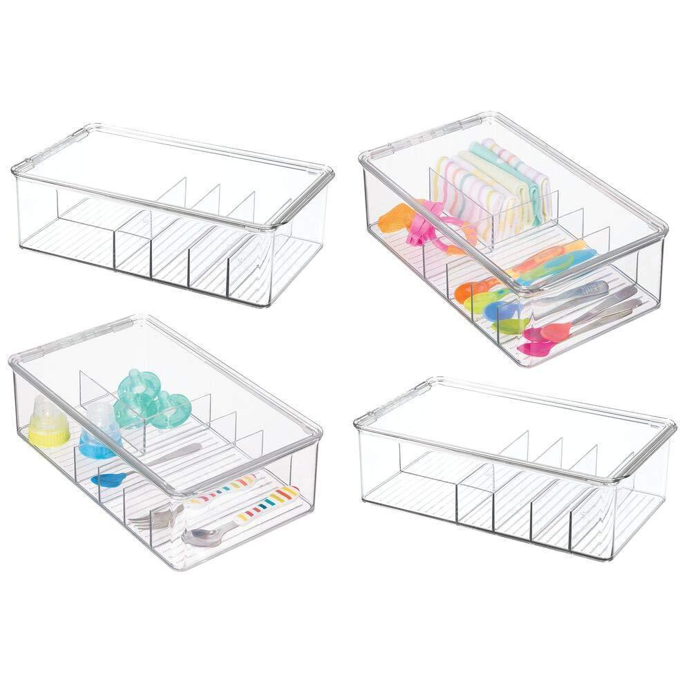 mDesign Stackable Plastic Storage Organizer Container for Kitchen Cabinets, Pantry, Countertops - Holds Kids, Child/Toddler Mealtime Sets, Small Accessories - 6 Sections - BPA Free, 4 Pack - Clear