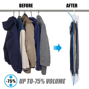 Buy now mrs bag hanging vacuum storage bags 4 jumbo57x27 6 space saver bag dress cover with hook for coats jackets clothes closet storage hand pump included