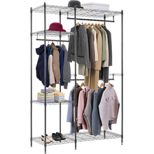 Load image into Gallery viewer, Amazon best hanging closet organizer and storage heavy duty clothes rack sturdy 3 rod garment rack large with wire shelving height adjustable commercial grade metal clothes stand rack for bedroom cloakroom black