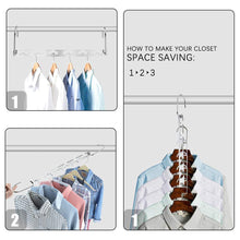 Load image into Gallery viewer, Top closet space saving hangers for clothes pants 10 5 inch metal wonder hangers stainless steel magic cascading hanger updated hook design closet organizer hanger