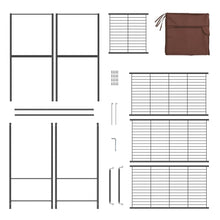 Load image into Gallery viewer, Get langria heavy duty zip up closet shoe organizer with detachable brown cloth cover wardrobe metal storage clothes rack armoire with 4 shelves and 2 hanging rods max load 463 lbs