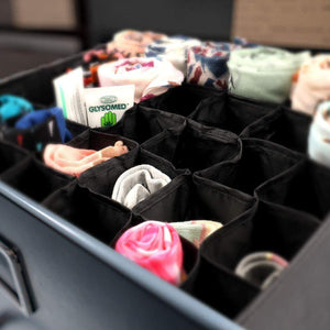 Great mifxin underwear socks storage organizer drawer divider 30 cell foldable closet drawer organizer storage box bin for socks bras underwear ties with dust moisture proof cover black