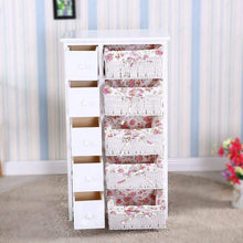 Load image into Gallery viewer, Home durable dresser storage tower 5 drawers with wicker baskets sturdy frame wood top easy pulling organizer unit for bedroom hallway entryway closet white