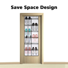 Load image into Gallery viewer, Explore kootek 2 pack over the door shoe organizers 12 mesh pockets 6 large mesh storage various compartments hanging shoe organizer with 8 hooks shoes holder for closet bedroom white 59 x 21 6 inch