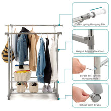 Load image into Gallery viewer, Save on ezoware heavy duty clothes rack dual bar commercial grade garment coat clothes closet organizer hanging rack with 2 tier bottom shelves for balcony boutiques bedroom chrome finish