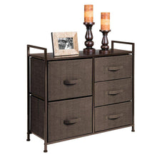 Load image into Gallery viewer, Purchase mdesign wide dresser storage tower sturdy steel frame wood top easy pull fabric bins organizer unit for bedroom hallway entryway closets textured print 5 drawers espresso brown
