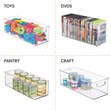 Load image into Gallery viewer, Discover the mdesign plastic stackable household storage organizer container bin with handles for media consoles closets cabinets holds dvds video games gaming accessories head sets 8 pack clear