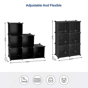 Get songmics cube storage organizer 6 cube closet storage shelves diy plastic closet cabinet modular bookcase storage shelving for bedroom living room office black with rubber hammer black ulpc06h
