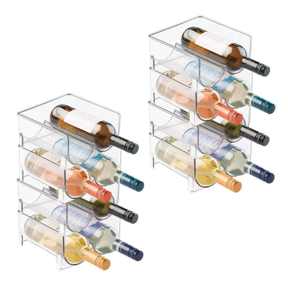 mDesign Plastic Free-Standing Wine Rack Storage Organizer for Kitchen Countertops, Table Top, Pantry, Fridge - Holds Wine, Beer, Pop/Soda, Water Bottles - Stackable, 2 Bottles Each, 8 Pack - Clear