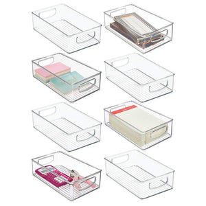 "mDesign Stackable Plastic Home Office Storage Organizer Container with Handles for Cabinets, Drawers, Desks, Workspace - BPA Free - for Pens, Pencils, Highlighters, Notebooks - 6"" Wide, 8 Pack - Clear"