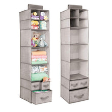 Load image into Gallery viewer, Discover mdesign soft fabric over closet rod hanging storage organizer with 7 shelves and 3 removable drawers for child kids room or nursery textured print 2 pack linen tan