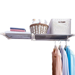 Featured hershii closet tension shelf expandable telescopic rod heavy duty clothes hanging rail adjustable diy storage organizer shoe rack for garage bathroom kitchen bedroom