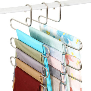 Explore teerfu 3 pack study pants hangers s type stainless steel trousers rack 5 layers multi purpose closet hangers magic space saver storage rack for clothes towel scarf trousers tie