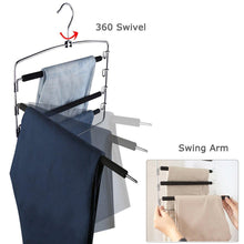 Load image into Gallery viewer, New clothes pants hangers 2pack multi layers metal pant slack hangers foam padded swing arm pants hangers closet storage organizer for pants jeans scarf hanging purple 4pack