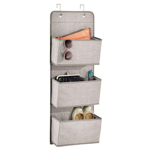 Shop for mdesign a568 soft fabric over the door hanging storage organizer with 3 large pockets for closets in bedrooms hallway entryway mudroom hooks included textured print 2 pack linen tan
