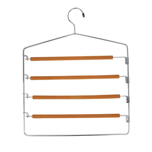 Discover the takoyi clothes pants hangers space saving non slip trouser hangers stainless steel multi layer metal pant hangers foam padded swing arm pants hangers closet storage organizer orange 4 pack
