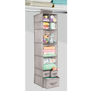 Explore mdesign soft fabric over closet rod hanging storage organizer with 7 shelves and 3 removable drawers for child kids room or nursery textured print 2 pack linen tan