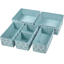 Load image into Gallery viewer, Amazon homyfort set of 6 foldable dresser drawer dividers cloth storage boxes closet organizers for underwear bras socks ties scarves blue lantern printing