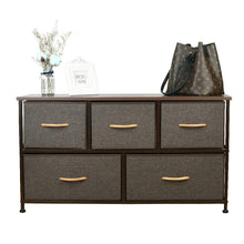 Load image into Gallery viewer, Selection home dresser storage tower sturdy steel frame mdf wood top removable drawers height adjustable feet storage organizer for room hallway entryway closets 5 drawers espresso 39 5w 21 5h