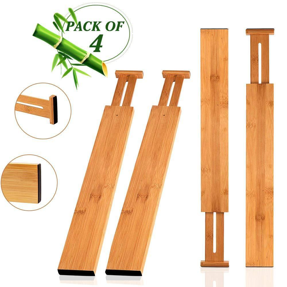 Hossejoy Bamboo Drawer Divider, Kitchen Drawer Organizer Spring Adjustable & Expendable Drawer Dividers - Best dividers for Kitchen, Dresser, Bedroom, Baby Drawer, Bathroom, Desk - Pack of 4