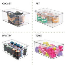 Load image into Gallery viewer, Top mdesign stackable closet plastic storage bin box with lid container for organizing childs kids toys action figures crayons markers building blocks puzzles crafts 5 high 4 pack clear