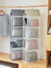 Load image into Gallery viewer, Discover the aoolife hanging purse handbag organizer clear hanging shelf bag collection storage holder dust proof closet wardrobe hatstand space saver 4 shelf grey