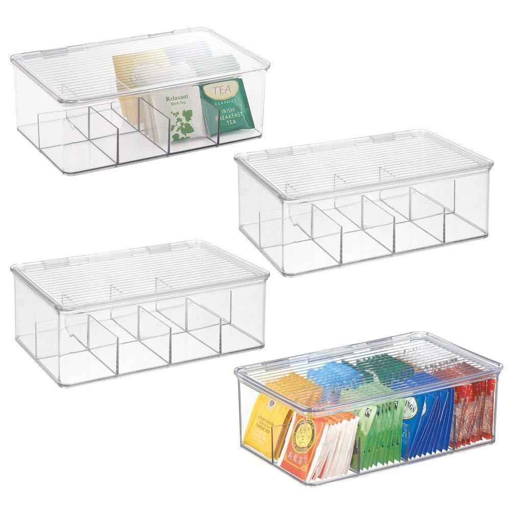mDesign Stackable Plastic Tea Bag Holder Storage Bin Box for Kitchen Cabinets, Countertops, Pantry - Organizer Holds Beverage Bags, Cups, Pods, Packets, Condiment Accessories - 4 Pack - Clear