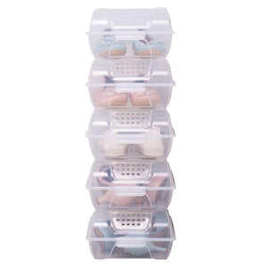 Save baoyouni clear shoe box closet corner storage case holder dust proof breathable organizer saving space stackable with lid for flats athletic shoes sandals heels sneakers pack of 5