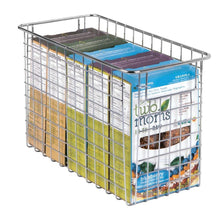 Load image into Gallery viewer, Storage mdesign household metal wire storage organizer bins basket with handles for kitchen cabinets pantry bathroom landry room closets garage 4 pack 12 x 6 x 8 chrome