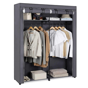 Products songmics closet storage organizer portable wardrobe with hanging rods clothes rack foldable cloakroom study stable 55 1 x 16 9 x 68 5 inches gray uryg02gy