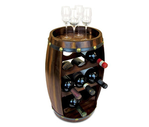 Puzzled Alexander Wine Rack 8 Bottle Free Standing Wine Holder Bottle Rack Floor Stand Or Countertop Wine Wooden Barrel Decor Storage Organizer Liquor Display to Decorate Home Kitchen Bar Accessory