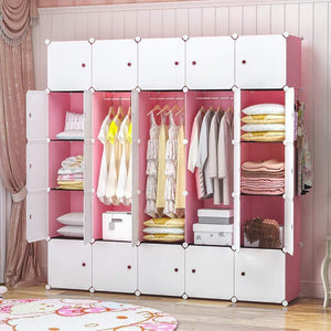 Shop yozo modular closet cloth storage organizer portable kids wardrobe chest of drawer ube shelving unit multifunction toy cabinet bookshelf diy furniture pink 25 cubes