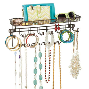 Home mdesign decorative metal closet wall mount jewelry accessory organizer for storage of necklaces bracelets rings earrings sunglasses wallets 8 large 11 small hooks 1 basket bronze