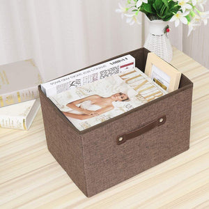 Best seller  dmjwn foldable cloth storage tool box bin storage basket lid collapsible linen and handles organizer bins single handle for home closet office car boot brown