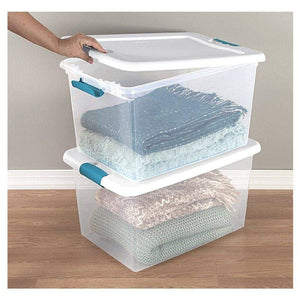 Purchase 60 quart storage containers 6 pack closet lids space saver baskets box stacking bin portable organizer ebook