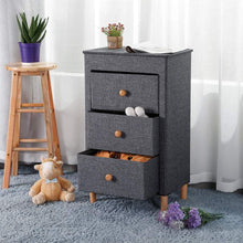 Load image into Gallery viewer, Home kamiler 3 drawer dresser nightstand beside table end table storage organizer tower unit for bedroom hallway entryway closets removable fabric bins no tool required to assemble