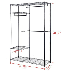 On amazon s afstar safstar heavy duty clothing garment rack wire shelving closet clothes stand rack double rod wardrobe metal storage rack freestanding cloth armoire organizer 2 packs