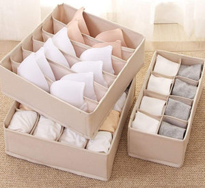 Best xitangou set of 4 flodable drawer organiser collapsible closet divider for underwear bras neck ties handkerchiefs beige