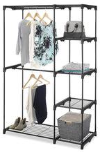 Load image into Gallery viewer, Shop whitmor freestanding portable closet organizer heavy duty black steel frame double rod wardrobe cloths storage with 5 shelves shoe rack for home or office size 45 1 4 x 19 1 4 x 68
