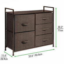 Load image into Gallery viewer, Order now mdesign wide dresser storage tower sturdy steel frame wood top easy pull fabric bins organizer unit for bedroom hallway entryway closets textured print 5 drawers espresso brown